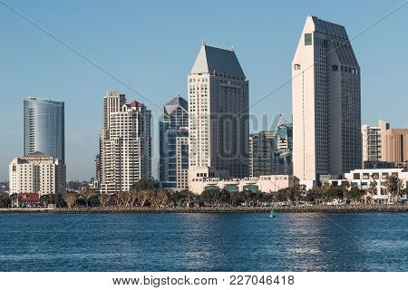 San Diego, California - February 4, 2018:  The Downtown San Diego Skyline And Seaport Village As See
