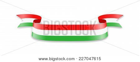 Hungary Flag In The Form Of Wave Ribbon. Vector Illustration.