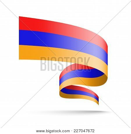 Armenia Flag In The Form Of Wave Ribbon. Vector Illustration On White Background.