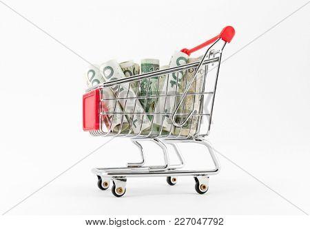 Shopping cart with polish money on white background
