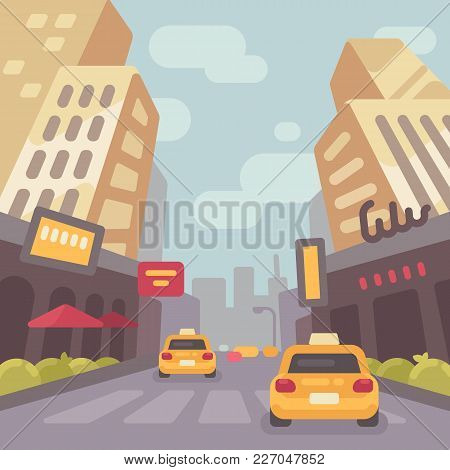 Modern City Street With Taxi Cars And Skyscrapers Low Perspective View. Vintage Travel Poster Flat I