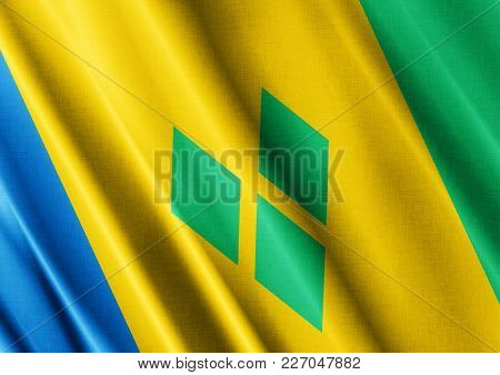 Saint Vincent And The Grenadines Textured Proud Country Waving Flag Close
