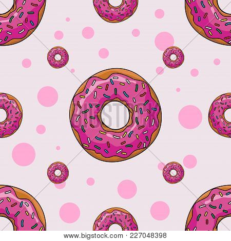 Seamless Background With Cartoon Donut In Style Flat