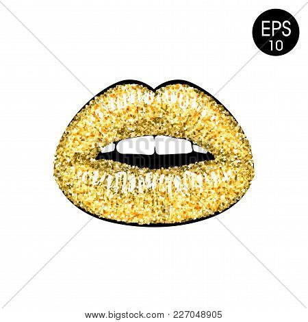 Golden Lips Vector Illustration Isolated On White Background