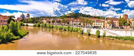 Verona Cityscape From Adige River Bridge Panoramic View, Veneto Region Of Italy