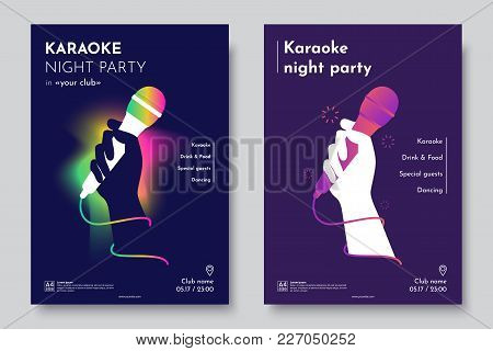 Karaoke Party Invitation Flyer Template. Silhouette Of Hand With Microphone On An Abstract Dark Back