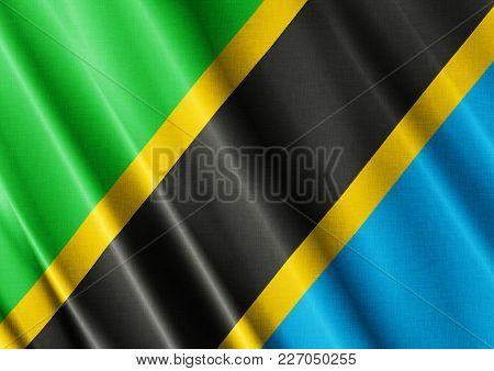 Tanzania Textured Proud Country Waving Flag Close
