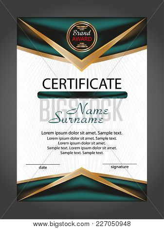 Vertical Certificate Or Diploma Template With Gold And Turquoise Decorative Elements On White Backgr