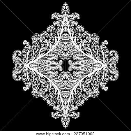 Snowflake Icon Graphic Sign Symbol Drawing. White Snowflake Isolated On Black Background. High Resol