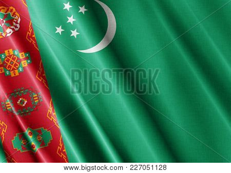 Turkmenistan Textured Proud Country Waving Flag Close