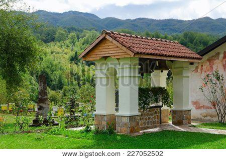 Belfry In Famous Monastery Of Moraca In Mountainous Area, Montenegro