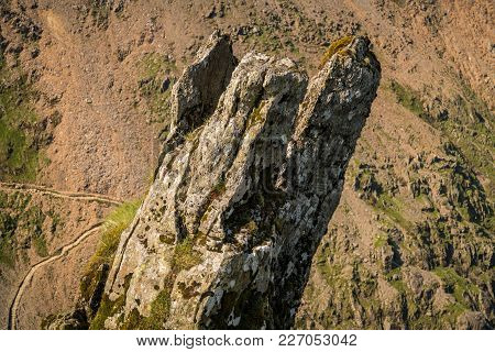 A Stone Stack With The Pyg Track In The Background, Seen From Mount Snowdon, Gwynedd, Wales, Uk