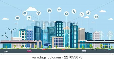 Smart City With Business Signs. Online Concept Modern City. City Landscape With Transport Infrastruc