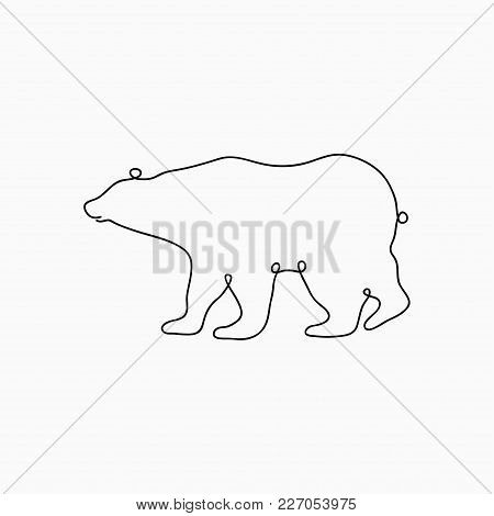Bear One Line Drawing. Continuous Line Animal Print. Hand-drawn Illustration For Logo. Vector.