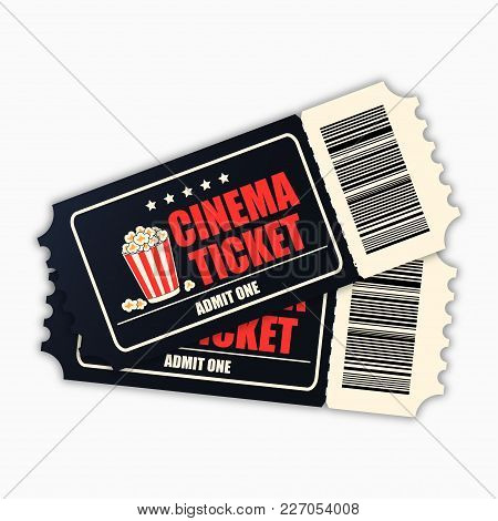 Cinema Ticket. Template Of Black Realistic Movie Tickets Isolated On White Background. Vecotr Illust