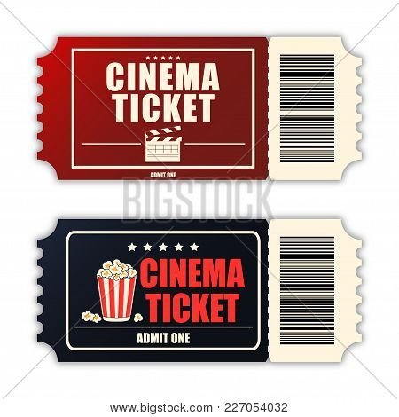 Cinema Ticket Set. Template Of Two Realistic Movie Tickets Isolated On White Background. Vecotr Illu