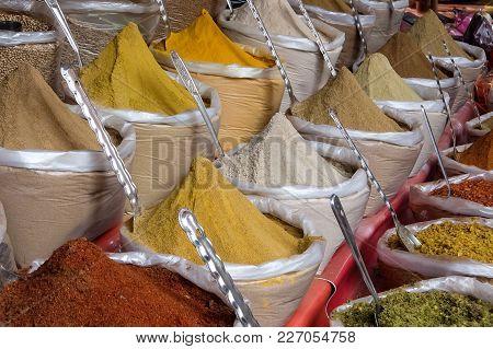 Indian Spices On The Street Market, Arambol, Goa, India