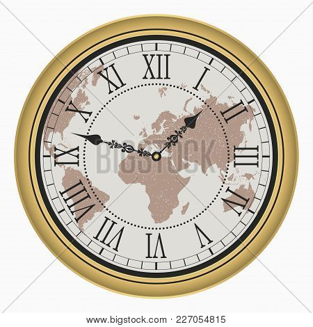 Vintage Clock With World Map. Antique Golden Wall Clock-face Dial With Roman Numeral. Vector Illustr