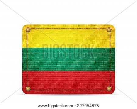 Denim Lithuania Flag On A White Background.