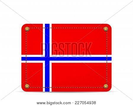 Denim Norway Flag On A White Background.