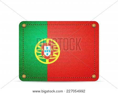 Denim Portugal Flag On A White Background.