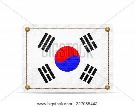 Denim South Korea Flag On A White Background.
