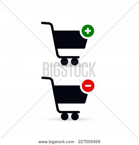 Add Delete Shopping Cart Icon. Vector Isolated Symbol.