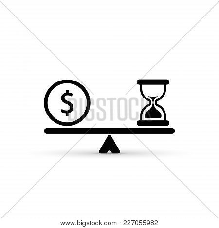 Time And Money Scales Icon. Money And Time Balance On Scale. Vector Isolated Sign.