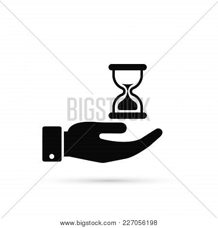 Human Hand Hold A Hourglass Vector Icon. Business And Time Management Concept. Isolated Illustration
