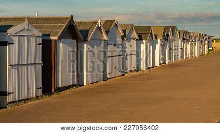 Beach Huts On The Promenade, Seen In Shoeburyness, Southend-on-sea, Essex, England, Uk