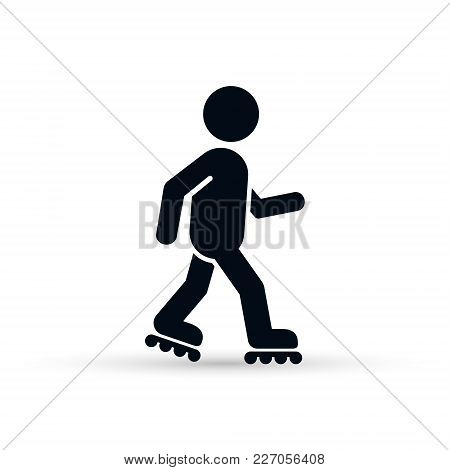 Roller Skate Icon On White Background. Vector Roller Skating Icon.