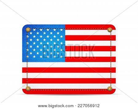 Denim Usa Flag On A White Background.