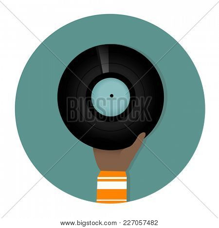 Hand holding disc illustration