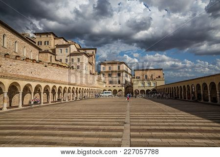 Lower Plaza Of Saint Francis - Assisi, Province Of Perugia, Umbria Region, Italy, Europe