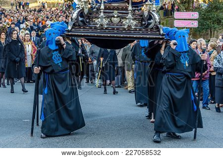Santiago De Compostela, Spain - April 3, 2015: Traditional Spanish Holy Week (semana Santa) Processi