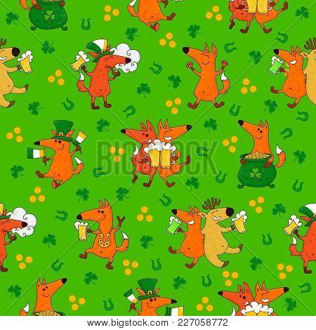 Saint Patrick's Day Patterns With Foxes And Irish Simbols