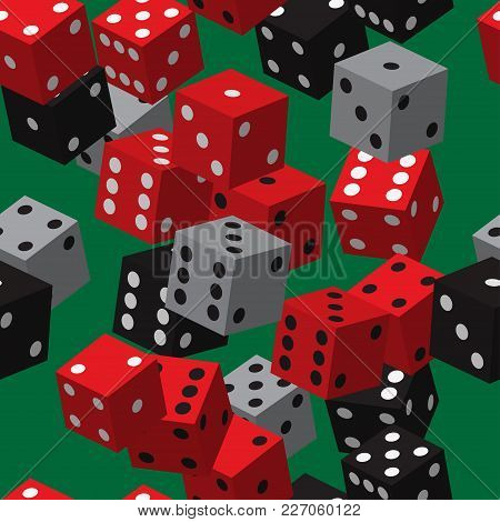 Red Black Grey Dice Seamless Pattern On Green Background