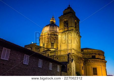 Tower Of Papal Basilica Of Saint Mary Of The Angels In Assisi At Night - Assisi, Province Of Perugia