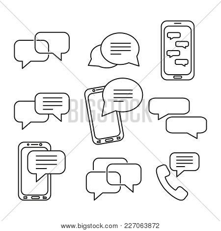 Set Of Message Icons On The White Background