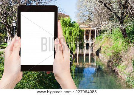 Travel Concept - Tourist Photographs Public Park Giardini Salvi (garden Of Valmarana Salvi) With Val