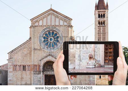 Travel Concept - Tourist Photographs Basilica Di San Zeno ( San Zeno Maggiore, San Zenone) In Verona