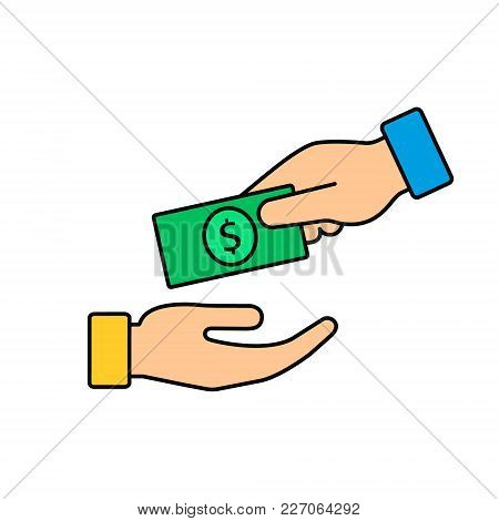 Hand Giving Money To Another Hand Color Icon. Vecor Illustration Giving And Receiving Money, Donatio