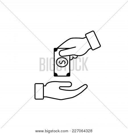 Hand Giving Money To Other Hand Vector Line Icon, Outline Isolated Illustration In Flat Style.