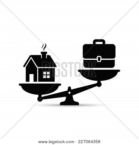 Home And Business Scales Icon. Weight Between Work, Money And Your Family. Career And Family On The