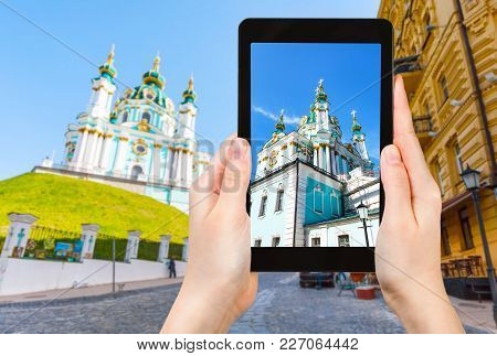 Tourist Photographs St Andrew Church In Kiev