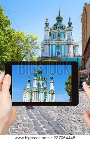 Tourist Photographs Church On Andriyivskyy Descent