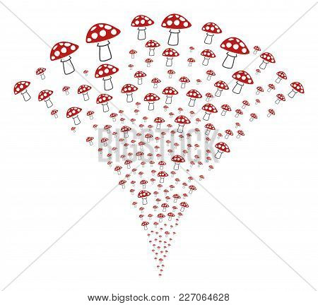 Mushroom Exploding Fountain. Vector Illustration Style Is Flat Iconic Symbols. Object Fountain Const
