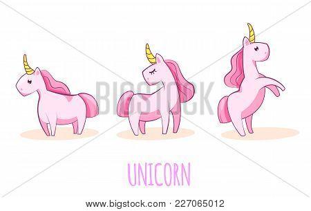 Vector Set Of Three Cute Unicorns. The Mythical Animal Is The Unicorn.