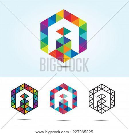 Abstract Trend Polygon Letter A Logo Design Template. Art Tech Media App Creative Sign. Colorful Vec