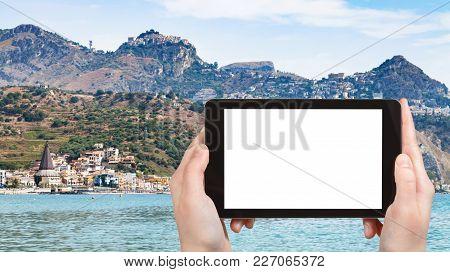 Travel Concept - Tourist Photographs Giardini-naxos Town And Taormina City On Cape In Sicily Italy I